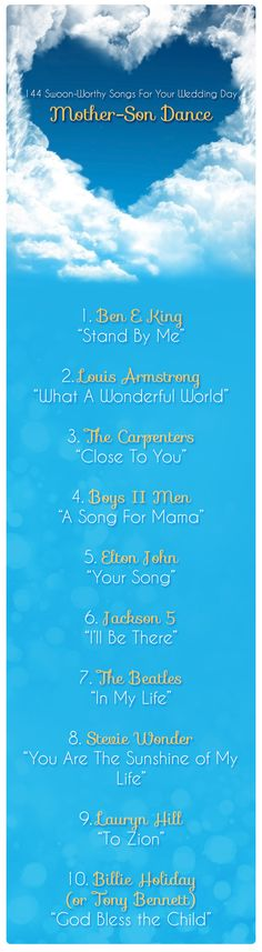 Mother-Son Wedding Songs / http://www.deerpearlflowers.com/144-wedding-songs-for-every-part-of-your-wedding-day/