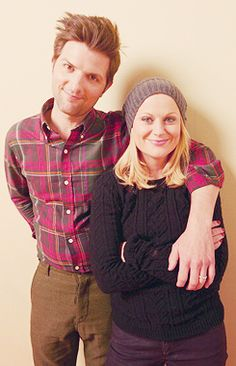 Amy Poehler & Adam Scott - Would it be creepy if I made this my background on my phone? It would, wouldn't it. Damn it. I love them.
