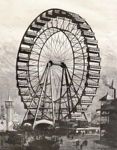 Ferris Wheel Colombian Exposition Chicago Worlds Fair 1893 The Ferris Wheel was invented specifically for this World's Fair in an effort to create a marvel that rivaled that of Paris's World's Fair in 1889-- the Eiffel Tour.