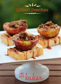 Grilled Peaches on Pound Cake - on the nicer side try angel food cake and Splenda Brown Sugar Blend . . .