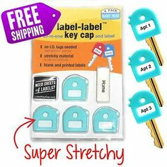 Super stretchy, soft grip label label key cap. fits most keys! 4 packs in baby blue now available!