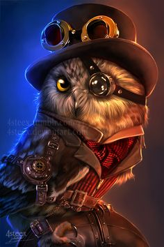 steampunk owl by 4steex.deviantart.com on @DeviantArt