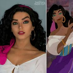 Esmeralda makeup from 'The Hunchback Of Notre Dame' 🔔 🔔 🔔 What would you like to see next from Disney? Esmerelda Costume, Esmeralda Cosplay, Esmeralda Disney, Halloween Kostüm, Halloween Cosplay, Halloween Outfits, Halloween Makeup, Vintage Halloween, Cute Cosplay