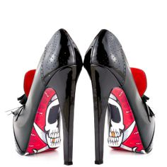 You won't need a map to find this hidden treasure by Taylor Says.  The Rummy spectator features a supple black leather silhouette with patent accents and hanging tassel at the vamp.  X marks the spot at the bottom of the sole and shows off a fierce pirate skull.  Sail away easily in the 6 inch stiletto heel and 1 1/2 inch platform.  Show off your fearless individuality and rock the boat with the Rummy.