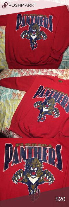Florida Panthers Vintage NHL Hockey Sweatshirt Size Large - Year 1990s Home Team Advantage  Shirts Sweatshirts & Hoodies