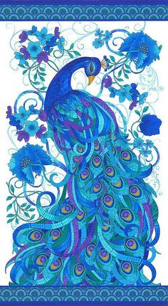 Gracious peacock in vibrant blues, turquoise, and violet on a white background. Mosaic Plume by Chong-a-Hwang for Timeless Treasures Fabrics Peacock Quilt, Peacock Decor, Peacock Colors, Peacock Bird, Peacock Theme, Peacock Design, Peacock Feathers, Peacock Images, Wal Art