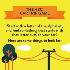 the abc car trip game heres a great game for your summer family road trip