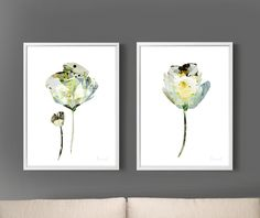 Set of 2 Prints, Flower Prints, Shabby Chic Home Decor, Printable Abstract Art, Print Set, Painting, Abstract Flower Art Print, 12x16 Prints by DanHobdayArt on Etsy