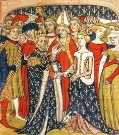 Mariage de Marie de Brabant et du roi Philippe III de France. Manuscrit des Chroniques de France ou de Saint Denis, British Library, London. fin du XIV°s