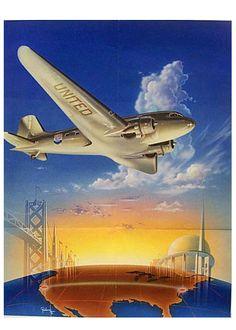 poster: United Air Lines, Douglas DC-3 | http://www.flysfo.com/museum/