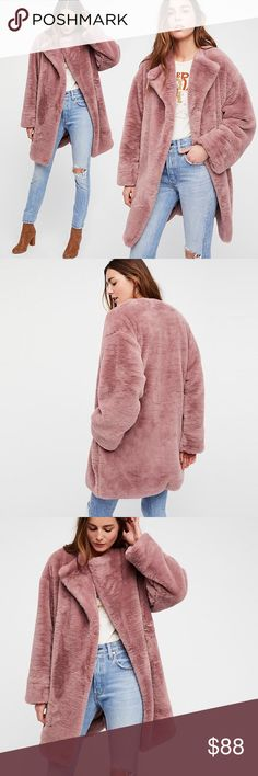 """Luxe Faux Fur Trench COAT Rose Gold Pink Rita An essential piece for the season, this ultra luxe faux fur coat has a femme design. Completed with a simple button closure in front. Lined.   S: Bust: 43.9""""/Length: 36.2"""" M: Bust: 46.1""""/Length: 36.8"""" L: Bust: 48.4""""/Length: 37.2"""" XL: Bust: 49.9""""/Length: 37.8""""  🌟🌟Item is Brand New, direct from the Manufacturer, & Sealed in Pkg. 🌟🌟 Jackets & Coats"""