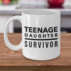 Teenage Daughter Survivor Mug, Funny Gift for Dad, Husband Gift, Dad Gifts, Papa Gift, Gift From Daughter, Teenager Survivor Coffee Cup by Mugnolia on Etsy
