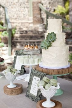 oh my goodness.  just killl me.  succulents on a white cake?  now that's the coolest thing i've ever seen!  and the milk glass?  i die!