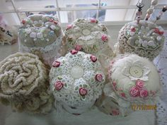 Embroidered*Crochet*Pin cushion Jars created by Msgardengrove1