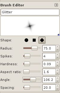 Tutorial: Create sparkle on any object ------ Wow, GIMP has an actual Brush Editor