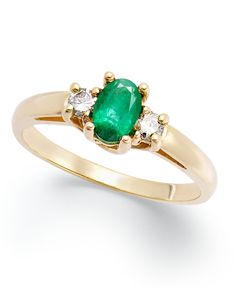 14k Gold Ring, Emerald (3/8 ct. t.w.) and Diamond (1/8 ct. t.w) 3-Stone Ring
