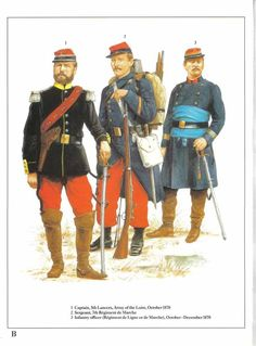 1:Captain,5th Lancers,Army of the Loire,October 1870.2:Sergeant,7th Regiment de Marche.3:Infantry officer (Regiment de Ligne de Marche),October-December 1870.