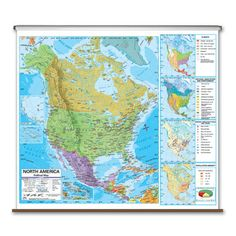 Universal Map State Wall Maps on Rollers With Backboards | Wayfair