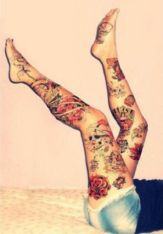 full leg tattoo for women - Detailed colorful tattoo design from hip to foot.