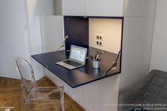 Salon Contemporain - Style Contemporain - Marbre B. Home Office Closet, Home Office Storage, Home Office Space, Home Office Design, Home Office Decor, Home Decor, Hidden Desk, Fold Down Desk, Room Interior
