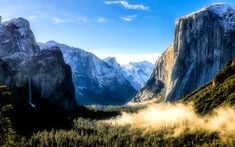 Download wallpapers Yosemite Valley, forest, fog, mountains, Yosemite National Park, Sierra Nevada, USA, America