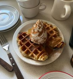 Cute Food, Good Food, Yummy Food, Tasty, Cute Breakfast Ideas, Waffles, Tumblr Food, Crepes, Aesthetic Food