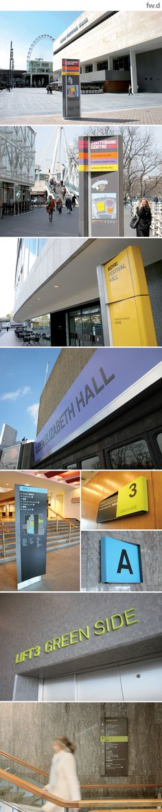 Royal Festival Hall, London Southbank destination branding & wayfinding design by fwdesign.  #wayfinding #signage  www.fwdesign.com