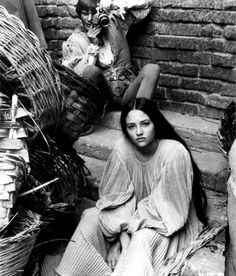 """Olivia Hussey on the set of """"Romeo and Juliet"""", 1968."""