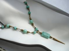 Turquoise blue necklace spike necklace turquoise by firesky7, $18.00
