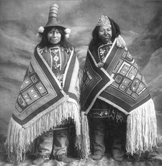 Stene-Tu and Kaw-Claa. Two Tlinget women in Chilkat blankets. 1906.