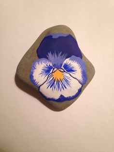Pansy- painted rock art, flowers, garden gems, stone art, garden art, painted stones