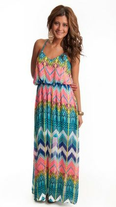 Bright Chevron & Tribal Maxi, $48.00