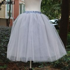2d9be9fd75 New Puff Women Chiffon Tulle Skirt White faldas High waist Midi Calf ...