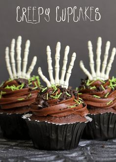 Super Delicious and Creepy Cupcakes with doctored Cake Mix and Homemade Chocolate Buttercream Frosting! { lilluna.com }