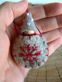 Waldorf Snowflake Baby Necklace, Waldorf Baby, Wearable Doll, Winter, red, gray, white, Upcycled wool felt