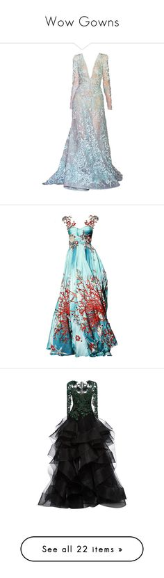 """""""Wow Gowns"""" by lizf99 ❤ liked on Polyvore featuring dresses, gowns, long dresses, the dresses, couture ball gowns, elie saab dresses, elie saab gowns, couture evening dresses, vestidos and blue gown"""