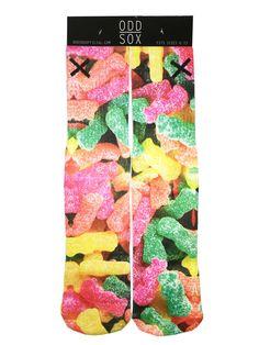 Odd Sox Red/GreenYellow Gummy Sours Print Casual Socks, Size 6-12