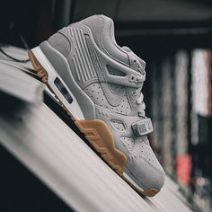 """A #closerlook at the @nike Air Trainer 3 """"Wolf Grey."""" Sporting a lush, grey suede body, white midsole and favorable gum colored bottom. Photo: @wishatl"""