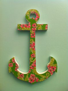 More Than Monograms Lilly Pulitzer Wood Anchor  via Etsy.