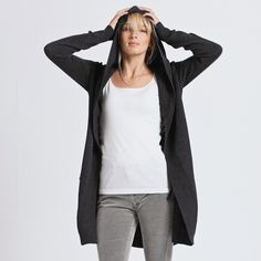 Buy Clothing > Knitwear > Hooded Curved Hem Cardigan - Charcoal from The White Company