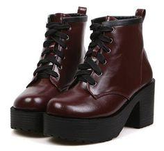 Bandage Design Chunky Heel Platform Ankle Boots