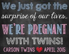 Are you looking for an adorable way to announce that you are pregnant with twins? This printable photo prop will allow you and your kids to