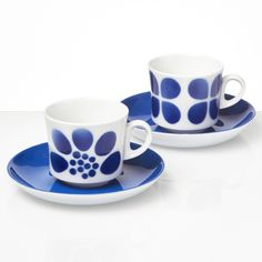 Arabia Suvi and Neliapila Coffee for Two, Vintage Blue Coffee Cups, Coffee Set, Tea Cups, Stencil Printing, Coffeecup, Nordic Home, Vintage Dishes, Blue Design, Airbrush