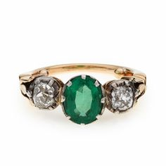 Image Detail for - Antique Emerald and Diamond Ring - Heming Jewellers London - Diamond ...