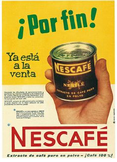 Old Advertisements, Advertising, Vintage Tins, Retro Vintage, Cool Typography, Retro Images, Nescafe, Retro Illustration, Retro Ads