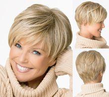 Medusa productos para el cabello : Beautiful boy Short cut pixie pelucas para mujeres estilo recto peluca sintética rubia con flequillo SW0081(China (Mainland))