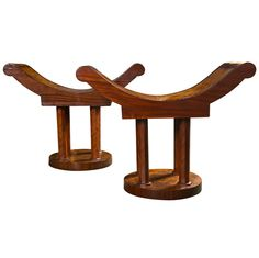 A pair of shaped wooden stools/benches inspired by Jean Michelle Frank designs. Modern Stools, Art Deco Furniture, Cat Treats, 5 D, Pairs, Antiques, Benches, Design, Home Decor