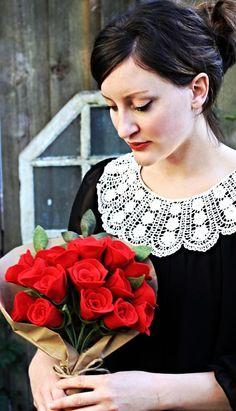 Valentine's Day Felt Rose Bouquet