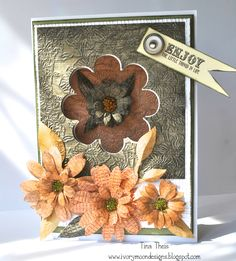CRAFTERS COMPANION; Vintage Florals CD ROM Vintage Floral Sentimentals  Embossalicious - Flower Garden Embossalicious - Hessian  Die'sire Leaf 1 Die'sire quilling- Sunflower (large and small) Die'sire quilling - Stamen Die'sire Ornamental Flower Frame Collall Glue -3D, Tacky & All Purpose Seed beads Core'dinations Card