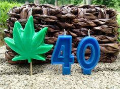 Hippie Pot Leaf birthday candle 6.00 by BabyBearCandles on Etsy